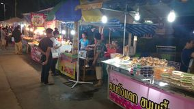 Night market in pathum thani stock video footage