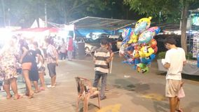 Night market in pathum thani, thailand stock video footage