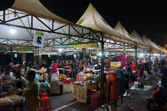 Night market. Residents visit the night market in the city of Solo, Central Java, Indonesia stock images