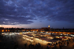 The night market. A view of the Marrakech night Market in morocco africa Stock Photo