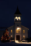 Night Mass. A church decorated an d lit up for christmas Stock Images