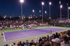 Night match at the 2009 BNP Paribas Open. A full crowd is on hand for a night match on court 6 at the 2009 BNP Paribas Open tennis tournament, held in Indian Stock Photography