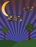 Night meadow with trees. An illustration of a night scene Royalty Free Stock Photography