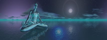 Night meditation - 3D render Stock Photo
