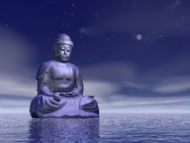 Night meditation - 3D render Stock Image