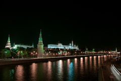 Night megalopolis. Center of Russia The Moscow Kremlin royalty free stock image