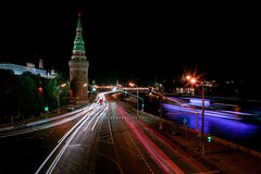 Night megalopolis. Center of Russia The Moscow Kremlin royalty free stock photography