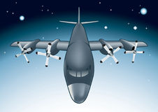 Night Menace. Vector illustration of combat jet flying through the night Royalty Free Stock Photography
