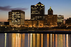 Night in Milwaukee. Early Night in Milwaukee, Wisconsin Stock Photography
