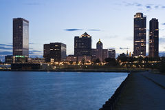 Night in Milwaukee. Night in downtown Milwaukee, Wisconsin Stock Photos