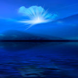 Night misty blue landscape. Night 3d graphics blue misty landscape - ocean and rays Stock Images