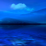 Night misty landscape. Night 3d graphics blue misty landscape - ocean and mountains in fog Royalty Free Stock Photography