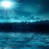 Night misty landscape stock photo