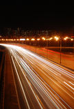Night MKAD. The night road with traces from headlights of the passing cars Royalty Free Stock Photos