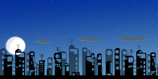 Night modern city. On background of the full moon Stock Photo