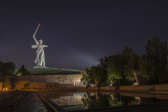 The night monument the Motherland calls! Stock Photos
