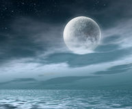 The night moon. The night sky and clouds with beautiful big moon Stock Photos