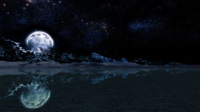 Night Moon Landscape Illustration Panorama Stock Photography