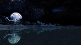 Night Moon Landscape Illustration Panorama Stock Photography