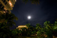 Night moon at luxury hotel Royalty Free Stock Images