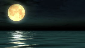 Night moon and moonbeam in sea.