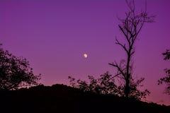 Night, moon over mountain Stock Photo