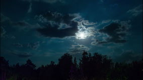 Night Moon Rising on the Horizon over the Trees and Clouds. Time Lapse stock video footage