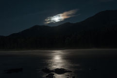 Night moon river mountain star clouds royalty free stock photography