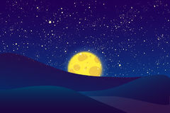 Night  moon, shining stars on dark blue sky. Stock Photos