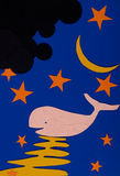 Night  moon and the Whale Royalty Free Stock Image