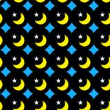 Night Moons and Stars Seamless Background. Diamonds, bright moons and stars shapes on a night sky. Seamless texture pattern background. Wrapping paper Stock Images