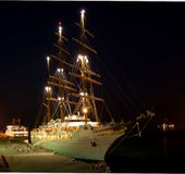 Night mooring of the yacht SEA CLOUD II stock images