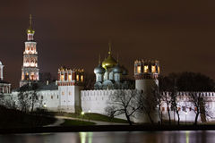 Night Moscow. Novodevichy monastery (16 century) at night. Moscow Stock Photos