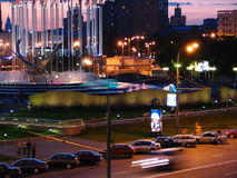 Night Moscow. Night fountains on quay Moscow - river Stock Images