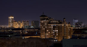 Night Moscow. City life with lights from the windows of buildings Stock Photos