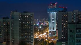 Night Moscow cityscape from rooftop timelapse. Residential buildings at night. Night view from the roof. Night Moscow cityscape from rooftop timelapse stock video footage