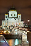 Night Moscow. Kind on Temple Christ Savior Royalty Free Stock Image