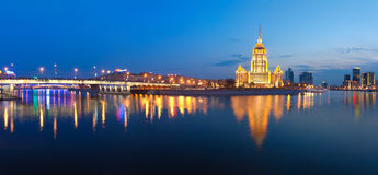 Night Moscow.  Moscow River. Hotel Ukraine. Stock Photos