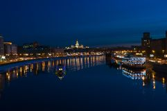 Night Moscow. Moscow River. Stock Photo