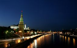 Night Moscow and night fires Stock Photo