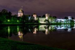 Night Moscow Novodevichy monastery river reflection Royalty Free Stock Photography