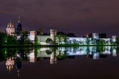 Night Moscow Novodevichy monastery river reflection Royalty Free Stock Photo