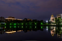 Night Moscow Novodevichy monastery river reflection Stock Photography