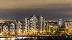 Night Moscow. Reflection of the bright lights Royalty Free Stock Image