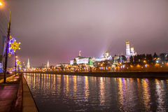 Night Moscow river and Kremlin with water reflections Stock Image