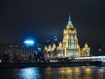 night moscow signature architecture, lights, highway, traffic, streets stock photo