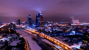 "Night Moscow. Taras Shevchenko embankment wonderful view, Moscow International Business Center ""Moscow City"", Moskva River, Dorogomilovo, Moscow, Russia Royalty Free Stock Image"