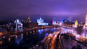 Night Moscow. Taras Shevchenko embankment wonderful view, Moskva River, Dorogomilovo, Moscow, Russia Royalty Free Stock Image