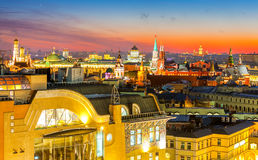 Night Moscow, type to the Moscow Kremlin, Christ the Savior Cathedral, the bell tower of St. John the Great, the university and on Stock Images