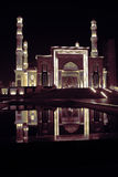Night mosque with water reflection Stock Photography